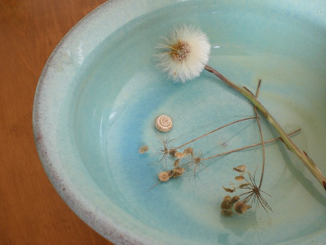 Yesterday's treasures in blue bowl