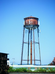 water tower, landmark, blue, tower,