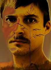 nose, art, face, yellow, painting, head, close-up, self-portrait, portrait, eye,
