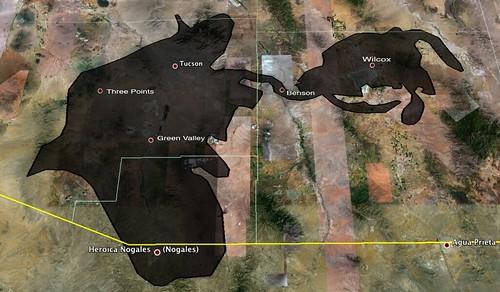 Deepwater Horizon Oilspill Superimposed on Tucson area