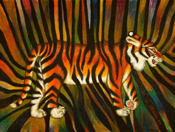 Tiger painting by Mary Theresa Dietz, 2007, oil stick on canvas, 36 X 47 1/2