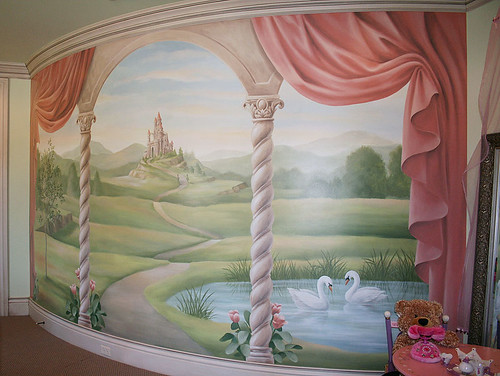 Castle mural in girls room