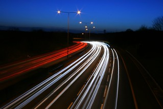 M25 motorway at night - blue sky