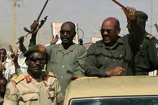 President Omar Hassan al-Bashir during his visit to the North Darfur state capital of El-Fasher on March 8, 2009. The President addressed a crowd of thousands in El Fashir. by Pan-African News Wire File Photos