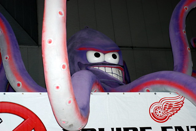 Al the Octopus stands guard at the Gordie Howe entrance of Joe Louis Arena after the game