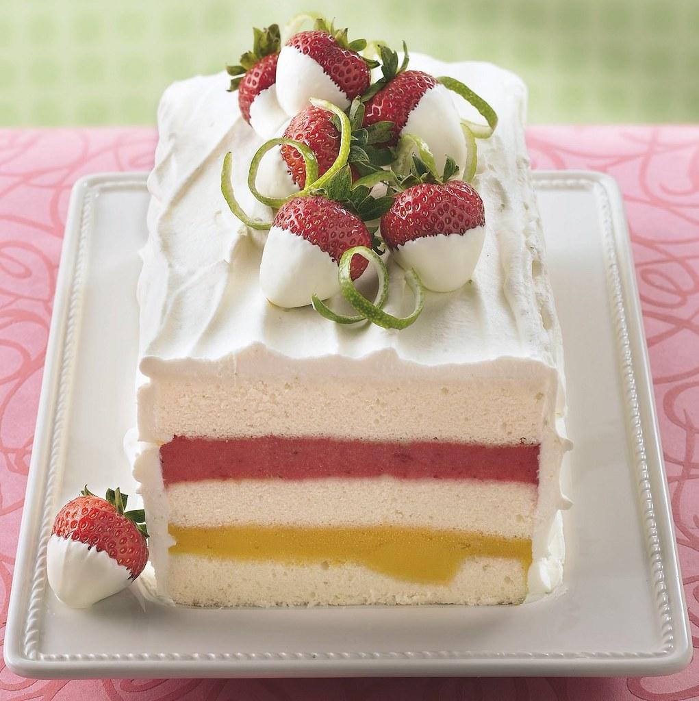 Strawberries Cream Torte Recipe: Mango-Strawberry Sorbet Torte Recipe