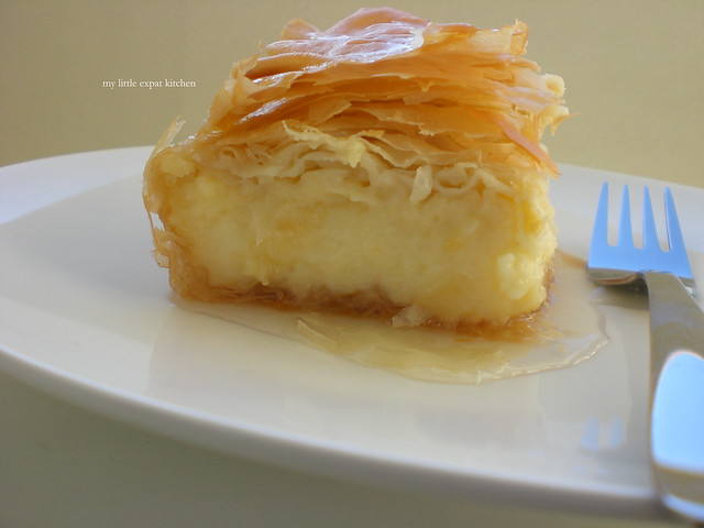 Galaktompoureko - Greek dessert with phyllo, filled with pastry cream and drenched in syrup