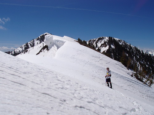 Me on the Spanish Fork Peak summit ridge with large cornices on the left.