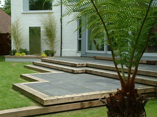 Contemporary style terrace in black limestone