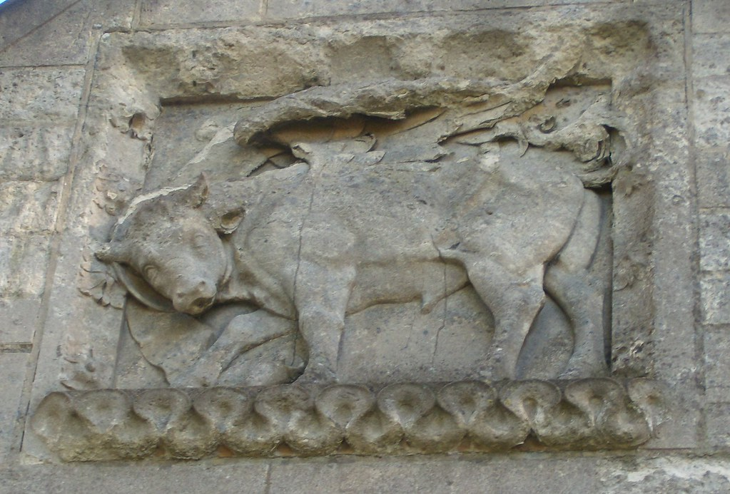Bull Above the entrance, St Lukes Church, Chiddingstone Causeway. St Luke's emblem is a winged bull. Hurst Green to Chiddingstone Causeway