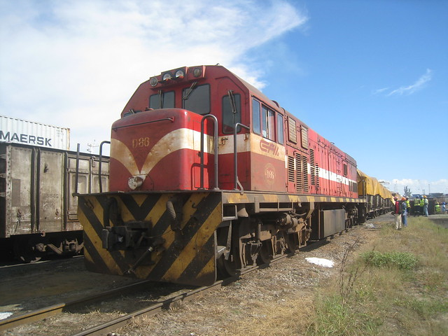 Loaded wagons being shunted, Port of Maputo