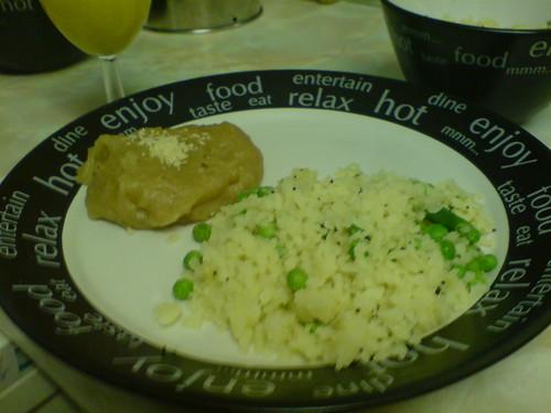 Orange poha Indian healthy breakfast