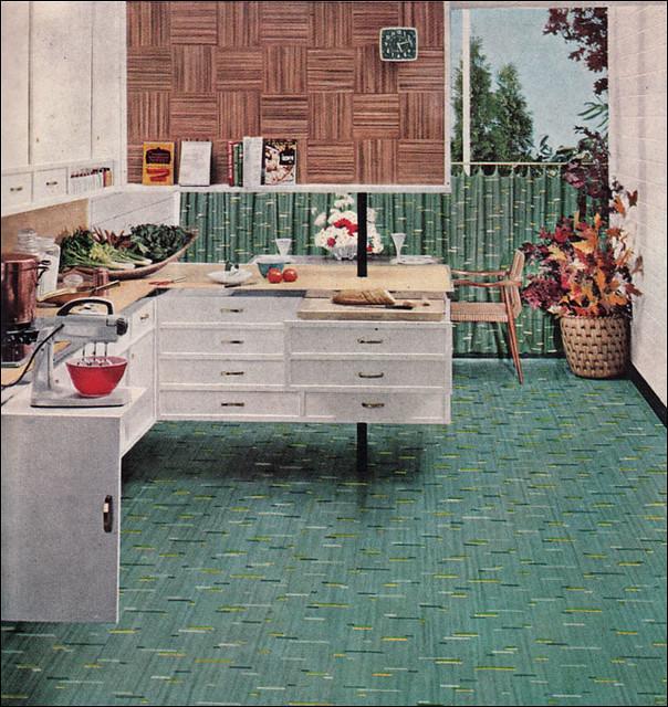 Retro Linoleum Kitchen Flooring: 1953 Congoleum-Nairn Lino - Jackstraw Pattern