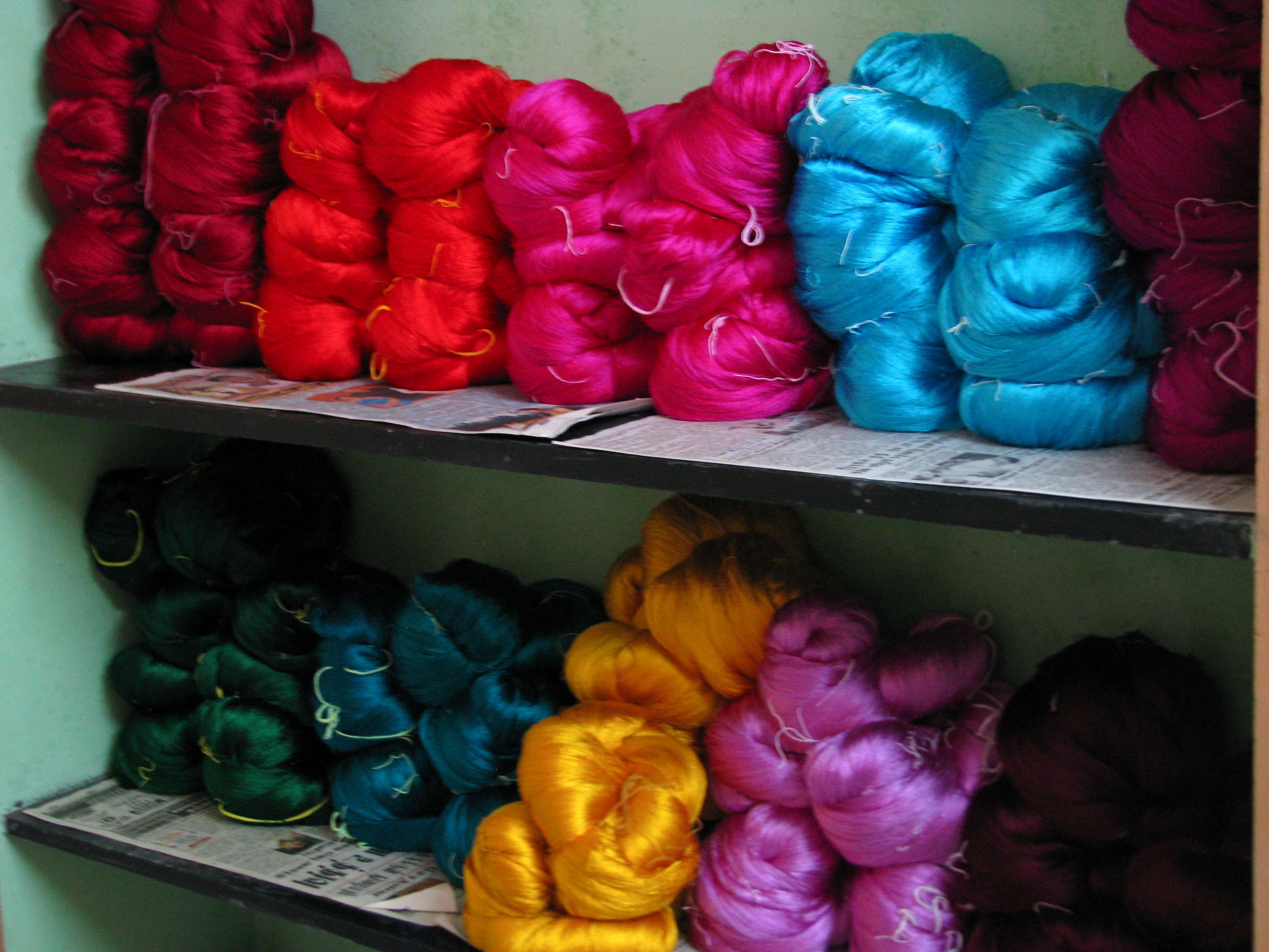 India - Colours of India - Silk yarn waiting to be made into saris
