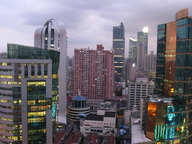 Colorful Shanghai skyline