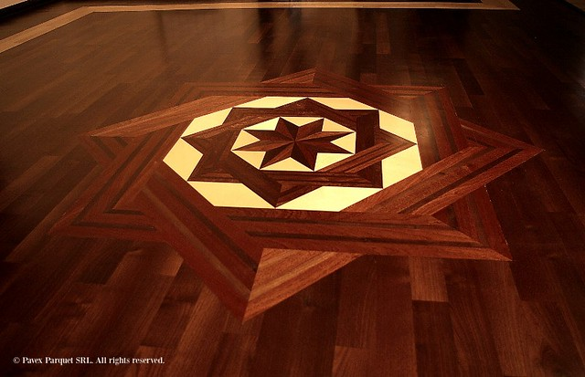 Wood floor medallion flickr photo sharing for Wood floor medallion designs