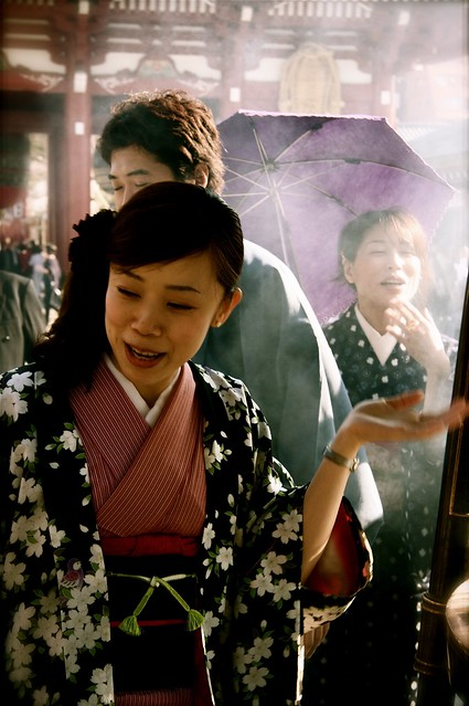 Ladies In Kimono At Sensoji Temple