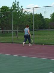DeEtta retrieving the ball
