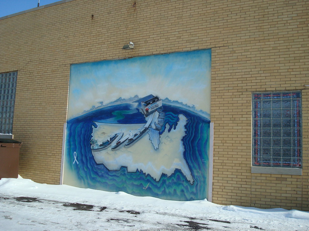 A mural on the side of the Route 66 Beverages  building, located on the north side of Ogden Avenue in Berwyn, Illinois.