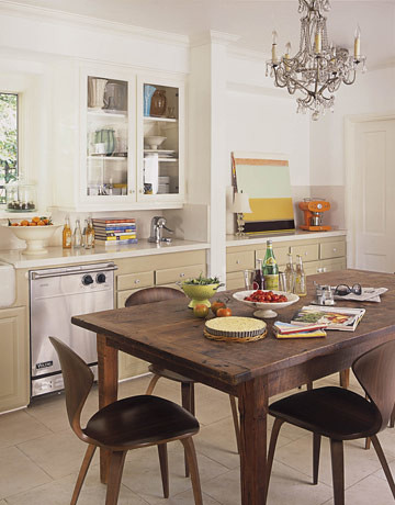 White kitchen + mod-traditional mix: Norman Cherner chairs + farm table + cottage style