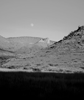 Circle Landscape with Moon in BW