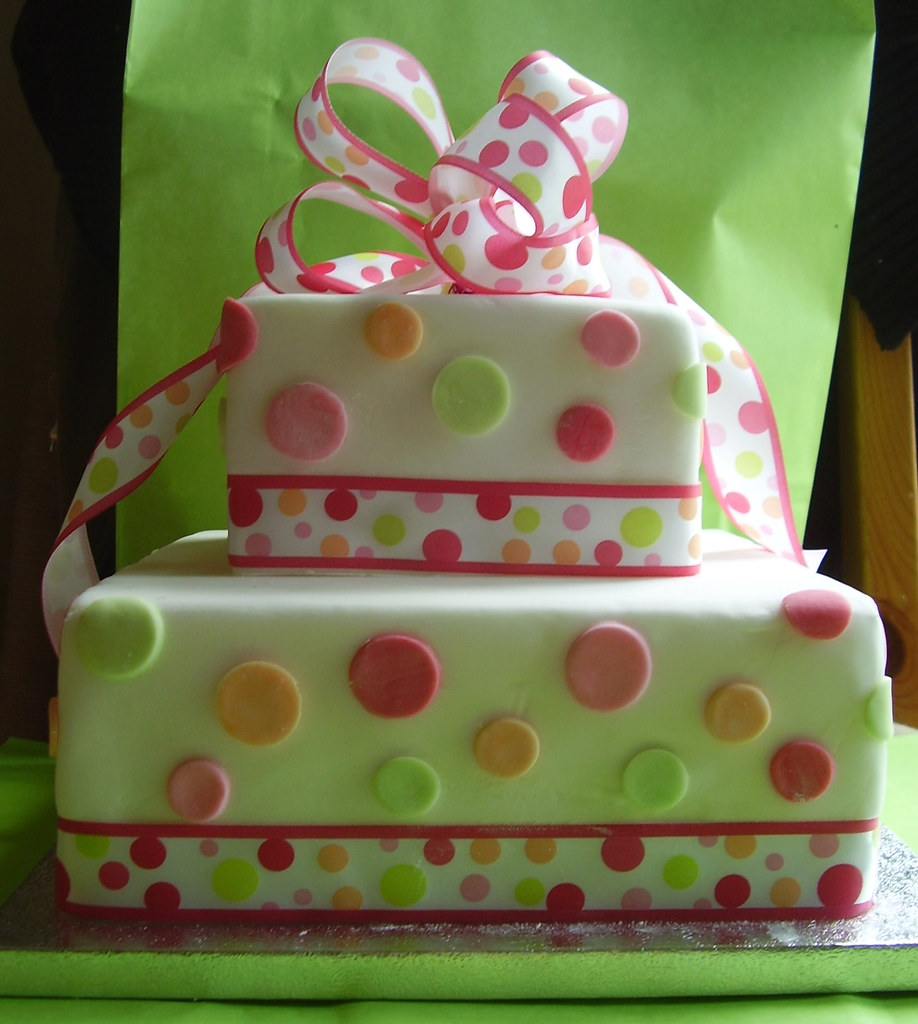 polka dot gift box cake