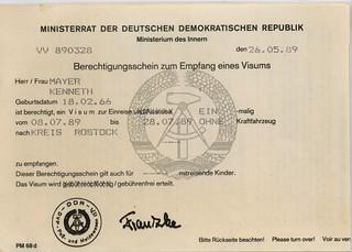 DDR Visum