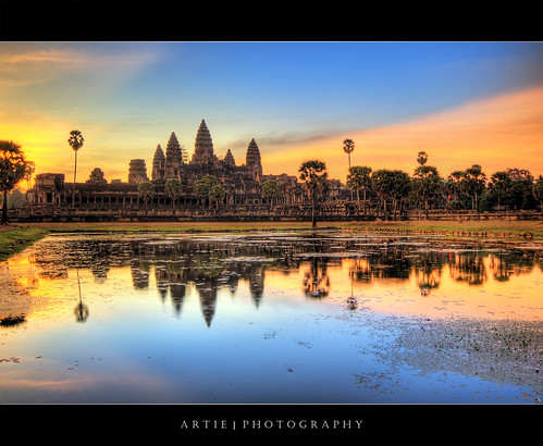 reflection building classic water stone architecture photoshop sunrise canon temple dawn ancient sandstone bravo cambodia khmer state cs2 tripod wideangle angkorwat structure 1020mm siemreap hdr artie angkorvat 12thcentury 3xp sigmalens photomatix tonemapping tonemap 400d rebelxti suryavaman dopplr:explore=a081