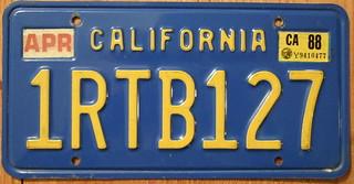 CALIFORNIA 1988 LICENSE PLATE ---BLUE BASEPLATE 7 DIGIT
