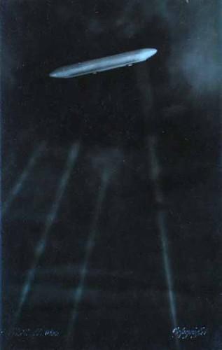 [2nd image, the German airship SL-11 flying north of London.]