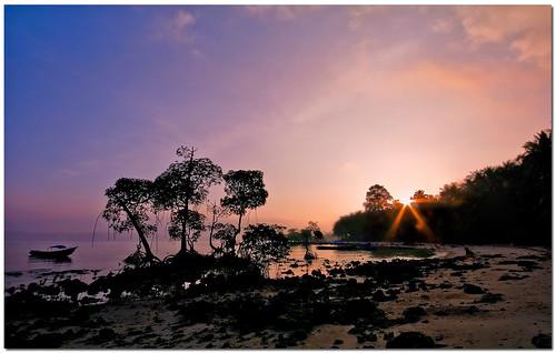 morning silhouette sunrise landscape dawn boat wide serenity lonely canoneosdigitalrebelxt havelock andaman sigma1020mm
