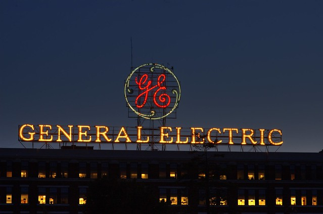 General Electric sign on GE Administration Building, Schenectady, New York