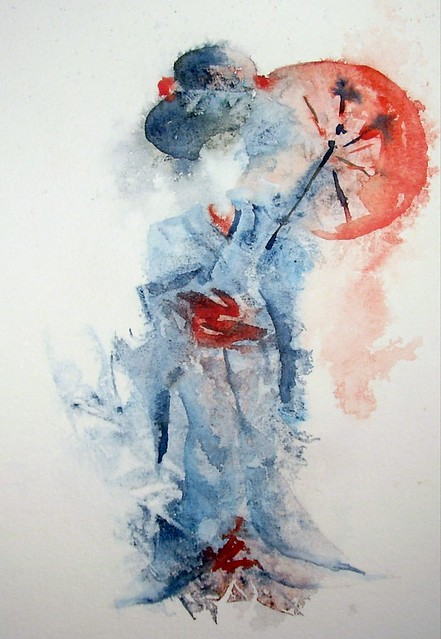 Memoirs of a geisha edm 217 umbrella apr 2009 for Japanese watercolor paintings