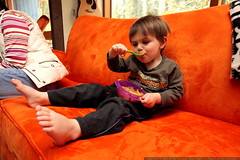 enjoying his second bowl of carrot hazelnut soup