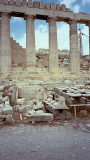 Vertical shot of the Parthenon on the Acropolis in June, 2000