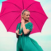 pink umbrella and green dress