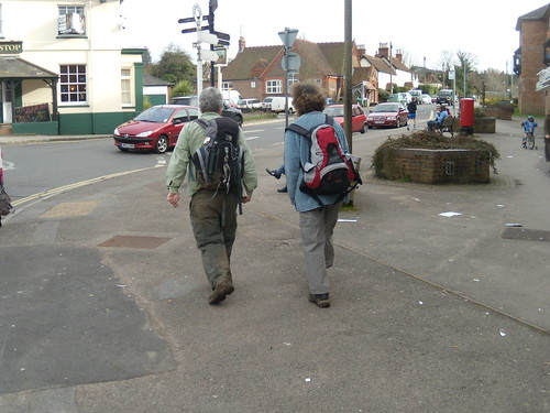 Two elegantly attired walkers