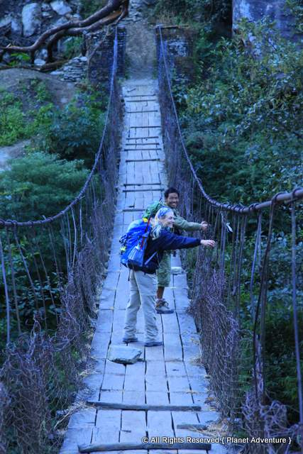 Bridge Crossing - Annapurna Curcuit Trek - Nepal