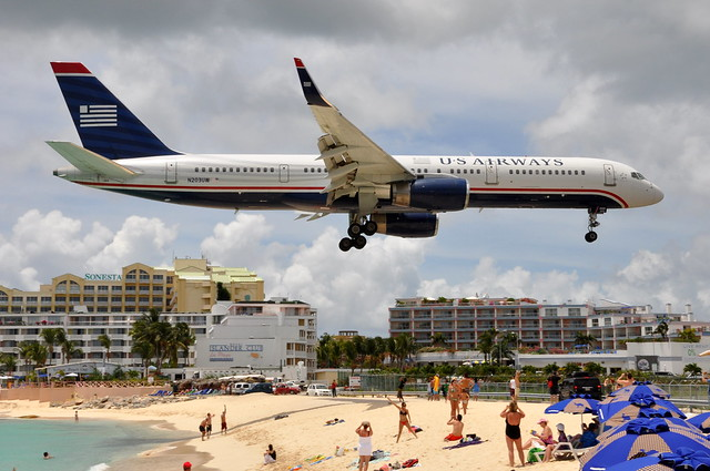 US Airways - Boeing 757-200 - N203UW - Princess Juliana International Airport (SXM) - St. Maarten - May 12, 2010 183 RT CRP