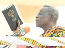 John Evans Atta Mills was sworn-in as Ghana's president in the West African nation. Mills won the race by a narrow margin run-off. by Pan-African News Wire File Photos