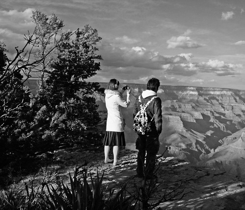 Grand Canyon Tourist in Black and White with Cow Print Knapsack by Juli Kearns (Idyllopus)