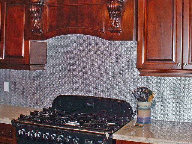 faux tin backsplash roll talissa decor flickr photo sharing