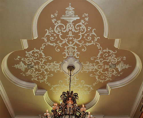 Gold dining room ceiling