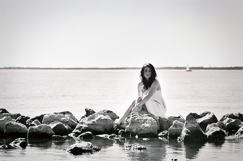 sea portrait blackandwhite bw lake film water girl sailboat rocks magical rockwall whitedress katyeskillman