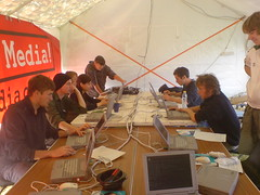 In the media tent