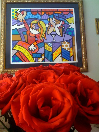 Britto with Red Roses