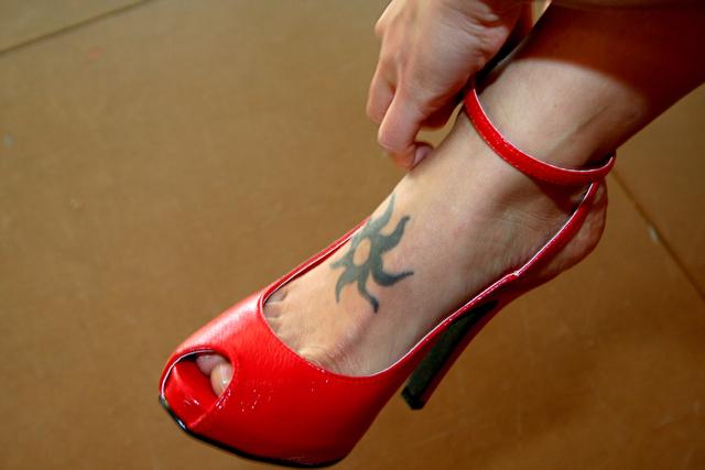 Red Peep Toe High Heel Sandal IMG_3364