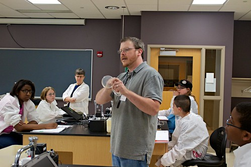 Dr. Finkler with summer science camp students