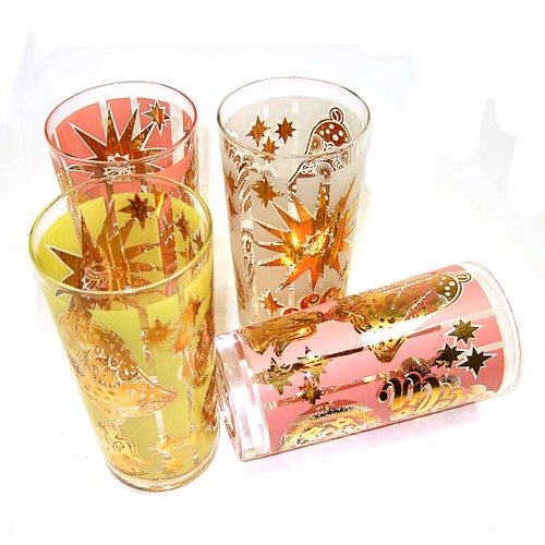 Vintage pink yellow gold christmas drinking glasses a