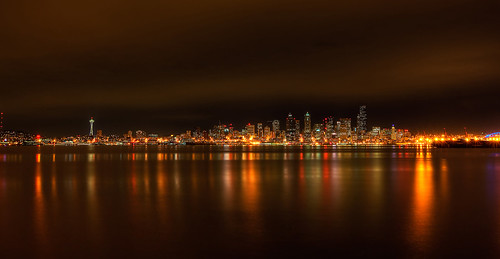 Seattle HDR Night Skyline
